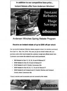 Andersen Winch Rebates